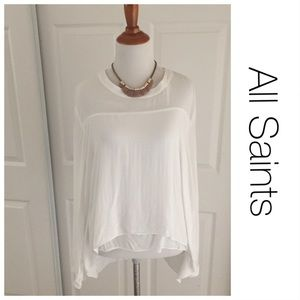 All Saints White Hi-Lo Double Layer Blouse 8